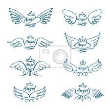 Obraz Elegantní Andělské Létající Křídla Ručně Tažené Křídlo Tetování