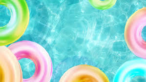 pool water with beach ball. Water Pool With Rubber Ring Or Beach Ball In Swimming Pool, Summer Background Surface