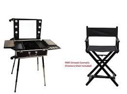 professional rolling studio makeup vanity train case with led lights trolley