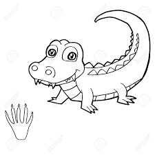 Paw Print With Crocodile Coloring Pages Vector Royalty Free Cliparts