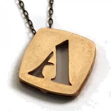 modern stencil initial necklace minimalist customized pendant gold bronze met