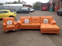 orange leather sofa stunning modern orange leather dfs sofa and chair aherns furniture minimalist