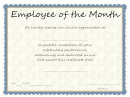 Employee Of The Month Certificate Templates Employee Of The Month Certificate Wording 30 Printable Employee Of