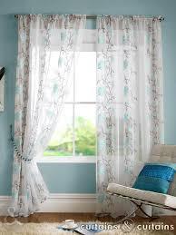 teal blue fl slot top voile curtain panels