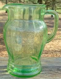 green depression glass pitcher anchor hocking cameo green depression glass pitcher forest green depression glass pitcher