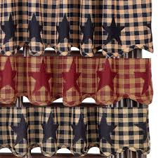 Plaid Kitchen Curtains Valances Primitive Curtains And Country Valances For Country Home Decorating