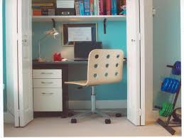 home office in a closet. Awesome Custom White Hardwood Floating Bookcase Over Minimalist Laptop Office Desk With Drawers As Well Modern Swivel Chairs Decorate In Teal Closet Home A E