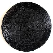 plain black beaded round centre table mat hover to zoom