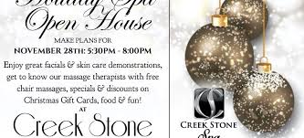 holiday spa open house you re invited creek stone