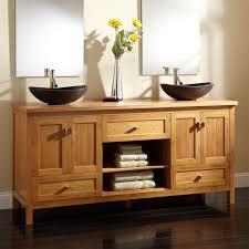alcott bamboo double vessel sink vanity  bathroom