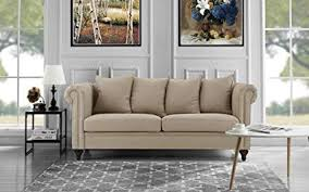 Traditional living room furniture Upscale Image Unavailable Busnsolutions Amazoncom Classic Chesterfield Scroll Arm Linen Living Room Sofa