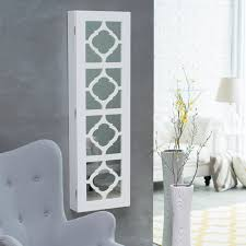 modern white painted wooden wall jewelry armoire with quatrefoil accents splendid wall mounted jewelry box