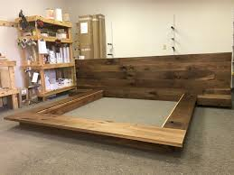 Platform bed with floating nightstands Ideas Floating Platform Bed Frame With Single Drawer Floating Nightstands Walnut Reddit Floating Platform Bed Frame With Single Drawer Floating Nightstands