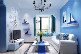 interior contemporary blue mediterranean style home interior