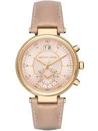 michael korslas sawyer gold plated chronograph brown leather strap watch mk2529