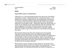 explain mills version of utilitarianism mills version of  document image preview