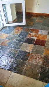 riven slate tiled floor after cleaning and sealing in coningsby