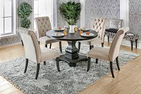 cm3840rt 3564 5 pc nerissa antique black finish wood 48 round dining table set with tufted chairs