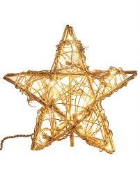 Gold Rattan Star Tree Topper