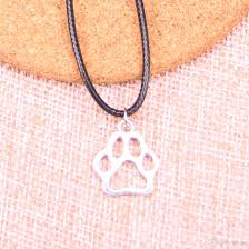 whole new durable black faux leather antique silver 19 17mm dog bear paw pendant leather chain necklace vintage jewelry drop horse pendant