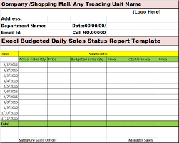 Daily Sales Report Excel Excel Budgeted Daily Sales Status Report Template Free Report