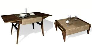wooden dining table folds to become a