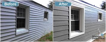 example of vinyl mobile home siding replacement with pre painted fiber cement siding from atlantic contracting services