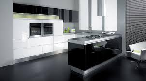 Black White And Grey Kitchen Kitchen Ideas With Black Appliances And White Vinyl Galley Idolza