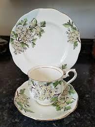 ROYAL ALBERT HAWTHORN Cup & Saucer Set Flower of Month Series Bone China  Gold #5 - $22.97 | PicClick