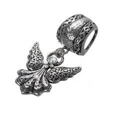 angel pendant scarf slider bail 85mm antique silver pk1