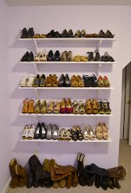 diy corner floating display shoe rack storage and shelves made from wood painted with white color ideas