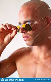Beautiful Male With Blue Eyes And Muscular Body Wear Denim Jeans And Gold Sunglasses With Naked Torso Fitness Male With Stock Image Image Of Body Gold 179921431