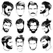 男性の髪型のシルエットのベクター セット あごヒゲのベクターアート