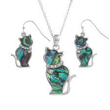 paua shell cat pendant necklace earrings set tj097 600x600