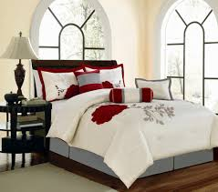luxury bedroom with red flower embroidered white bedspread and king size rose embroidered comforter sets