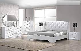 Amazon.com: Modern Madrid 4 Piece Bedroom Set Queen Size Bed Leather ...