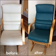 white leather rocking chair changed with turquoise dye before and after