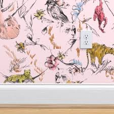JUNGLE CHINOISE_PINK in 2020   Pink jungle wallpaper, Jungle wallpaper,  Jungle wallpaper kids