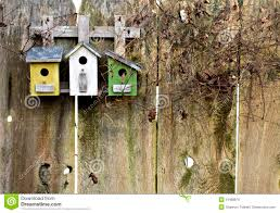 Rustic Birdhouses Old Rustic Birdhouses On Fence Royalty Free Stock Images Image