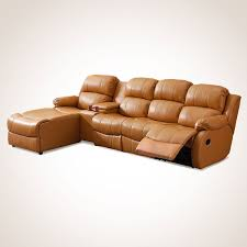dark beige manual recliner sectional sofa in genuine leather with cup holder console and right facing chaise l33 1 decoraport canada