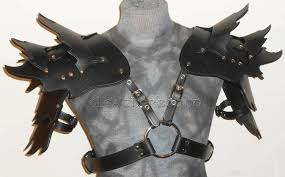 details about black leather armor gothic pauldrens bracers larp cosplay sca renaissance