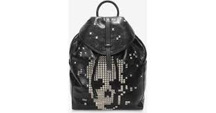 「BLACK CALF LEATHER BACKPACK WITH STUDDED SKULL FRONT」の画像検索結果