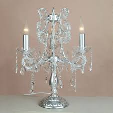 lighting enticing small chandelier table lamp with aluminum base and 3 candle style lights