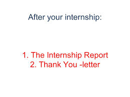 Day 3 4 And 5 After Your Internship 1 The Internship Report 2