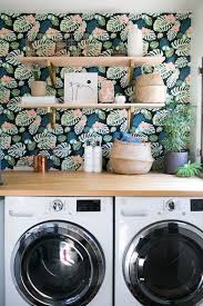 colorful floral wallpaper at home with: sophie carpenter. / sfgirlbybay   Wallpaper ShelvesBold WallpaperLaundry Room ...