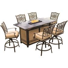 traditions 7 piece aluminum rectangular outdoor high dining set with fire pit