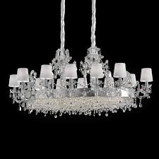 large classic silver oval crystal chandelier