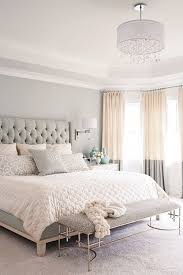 gray, white, and tan bedroom. Great two tone curtains and upholstered  headboard! Love the softness of the neutral colors gray, white, and tan  bedroom.