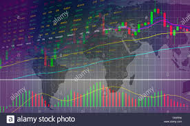 Stock Market Or Forex Trading Graph And Candlestick Chart On