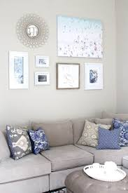 peachfully chic gray blue living room wall art